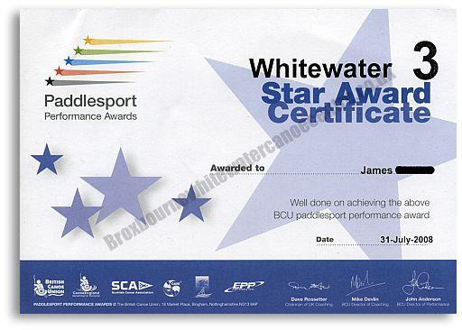 BCU White Water 3 star certificate